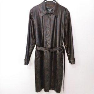 Vintage Croc Embossed Dark Faux Leather Jacket